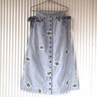 WODERFUL WORLD くまちゃんワッペン ブリーチデニムロングスカート