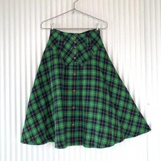 レトロタータンチェック フロントボタンスカート/緑