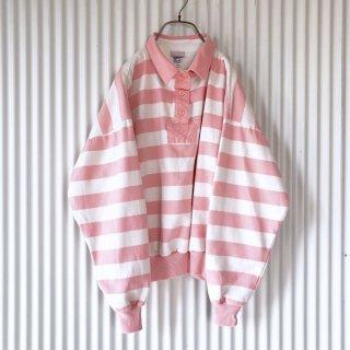 パステルサーモンピンク ラガーシャツ