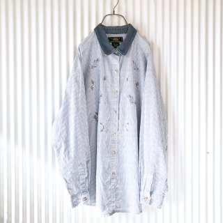 フラワー刺繍デニム襟シャツ