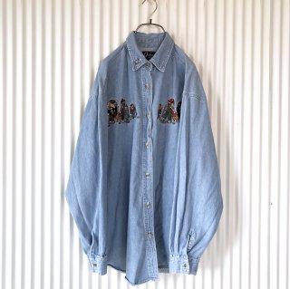 ピクニックくまちゃん刺繍ダンガリーシャツ