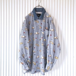 ねこちゃん柄デニム襟ストライプシャツ