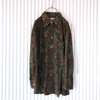フラワープリントレトロシャツ/ブラウン