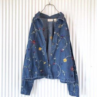 リリアンフラワー刺繍デニムジャケット