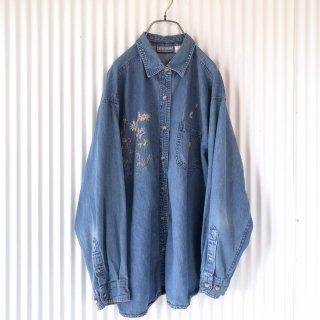 ダメージフラワー バックプリントデニムシャツ