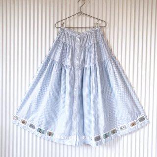 WONDERFUL WORLD くまちゃんワッペンギンガムフレアースカート