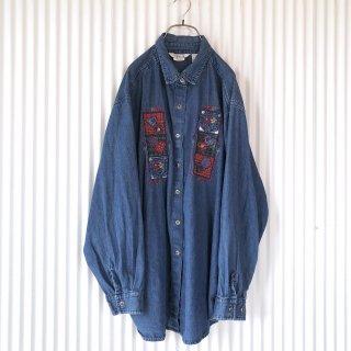 お花刺繍+パッチワークデニムシャツ