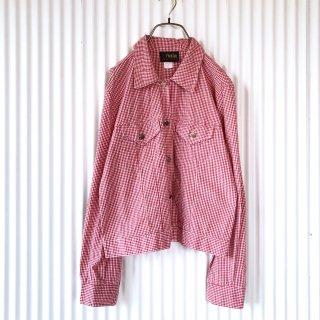 ギンガムチェック シャツジャケット/あか