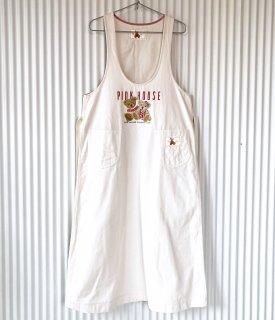 PINK HOUSE ペアくまちゃん刺繍ジャンパースカート/しろ