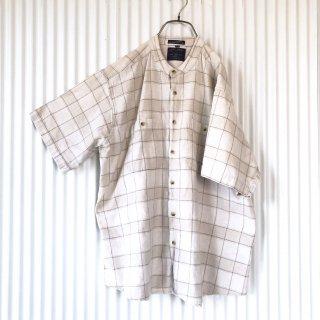ペンシルチェックノーカラーシャツ/XL
