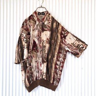 Alan Stuart ハーフボタン総柄テロシャツ