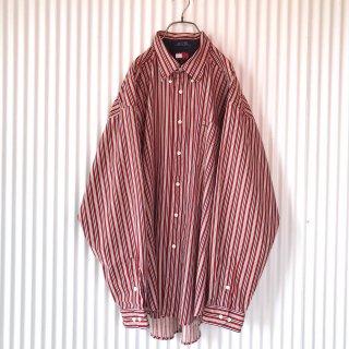 TOMMY HILFIGER エンブレム刺繍ストライプシャツ