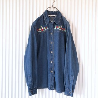 フラワー刺繍ソフトデニムシャツ