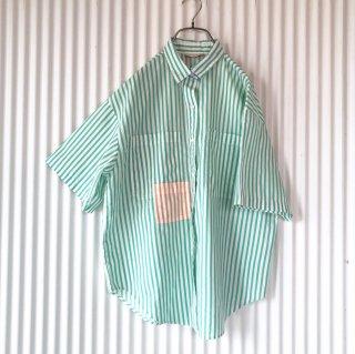 ミントストライプ オレンジポケットシャツ