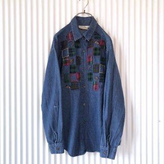 タータンチェックパッチワークデニムシャツ