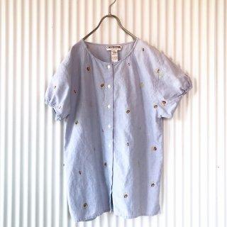小花クロスステッチ ノーカラーダンガリーシャツ