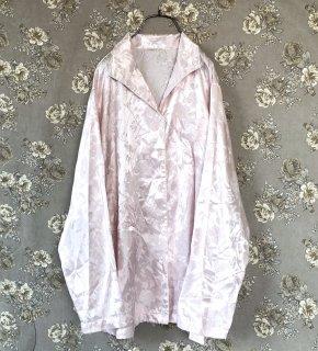 透かしフラワーサテンパジャマシャツ
