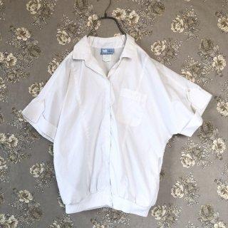 ハーフスリーブ裾リブ白シャツ/USA