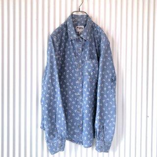 小花×ピンドット ダンガリーシャツ