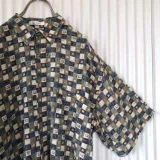レトロタイルパターン テロシャツ/Green×blue