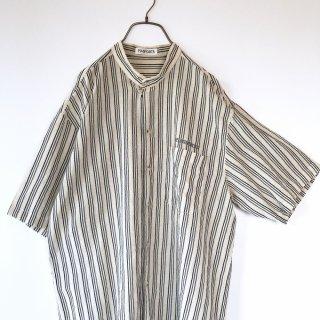 PIASPORTS バンドカラーヘンプmixシャツ
