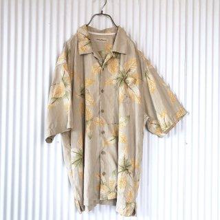 BIGリーフ オープンカラーSILKシャツ/XL