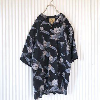 フェザーフラワーオープンカラーSILKシャツ