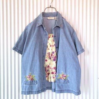 パンジー刺繍フェイクレイヤードデニムシャツ