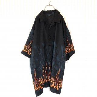 ファイヤーパターンBIGシャツ/Black/XXL