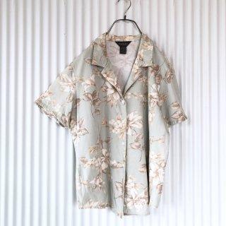 ペールトーンフラワーシャツ/くすみミント