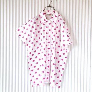 ピンクポルカドット フレンチスリーブシャツ