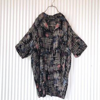 絣模様×フラワー レーヨンシャツ