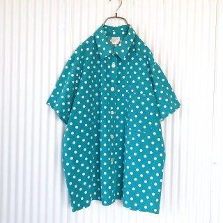 Green×White ポルカドットシャツ