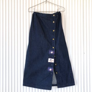 くまちゃんワッペンフロントボタンデニムスカート