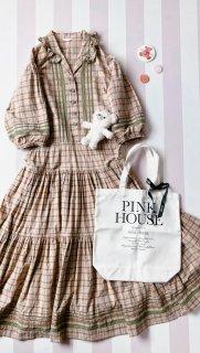 PINK HOUSE バルーンスリーブチェックワンピース