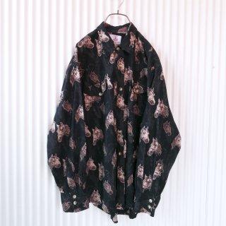 ポニー総柄コットンシャツ/XL