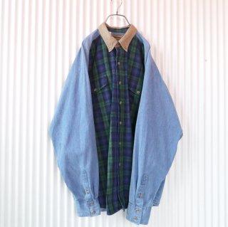 タータンチェック切り替えデニムシャツ/XL