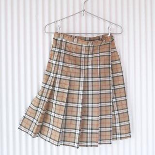 オータムチェック プリーツ巻きスカート