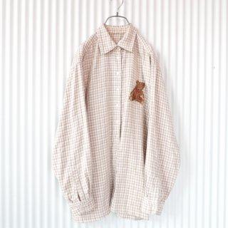 PINK HOUSE くまちゃん刺繍チェックガーゼシャツ