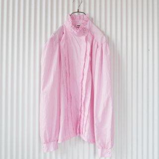 フリルスタンドカラーパールボタンブラウス/pink