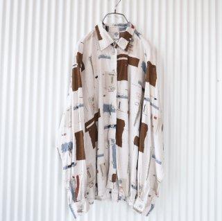 VISCOSE アートパターンシャツ/ Cream beige×Brown