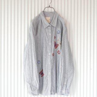 バタフライ刺繍ヒッコリーストライプシャツ