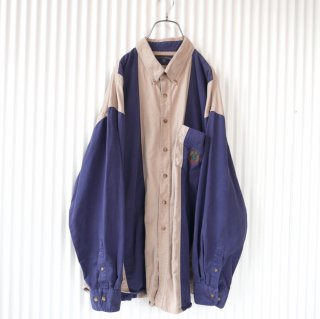 エンブレム刺繍太ストライプB.Dワークシャツ