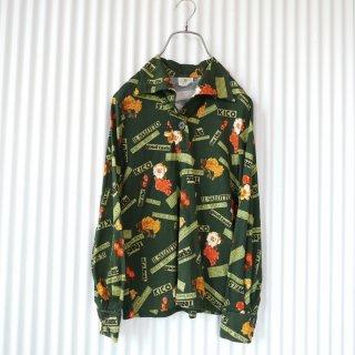 薔薇×英字プリントアンティークシャツ