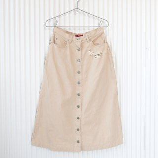 PINK HOUSE カモミール刺繍フロントボタンスカート