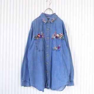 サンタくまちゃんポケット刺繍デニムシャツ