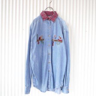 木馬とくまちゃん タータンチェック襟デニムシャツ