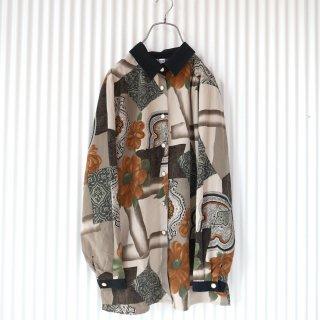 アンティークパターンブラックカフスシャツ