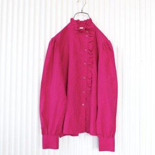 フリルスタンドカラーブラウス/Rouge pink