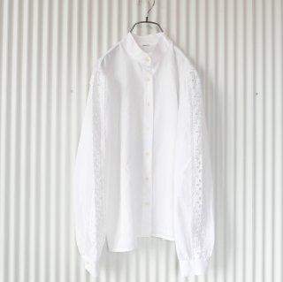 穴あきフラワーレース袖ブラウス/White